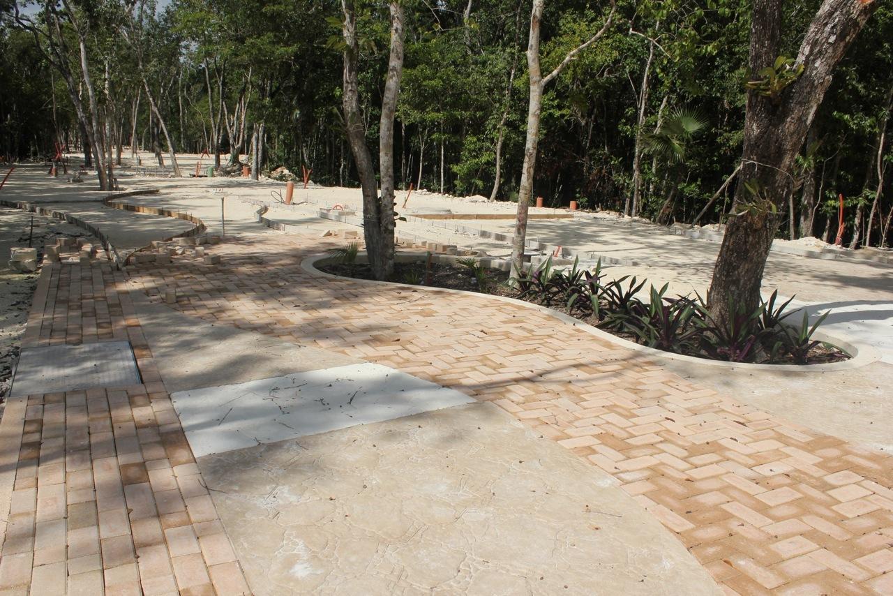 The sidewalk of the pedestrian street at Aldea Zama Tulum