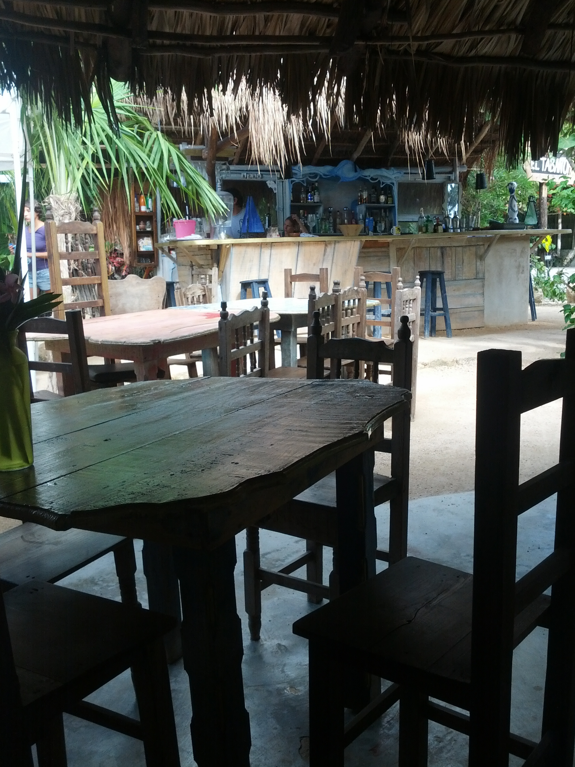 Laid back El Tbano restaurante at the Tulum beach strip