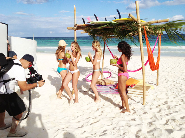 A typical Victoria's Secret shooting at a Tulum boutique hotel